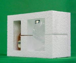polystyrene packaging whiskey bottle