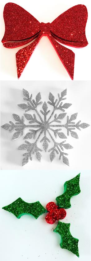 Mixed Polystyrene Christmas Glitter Decorations