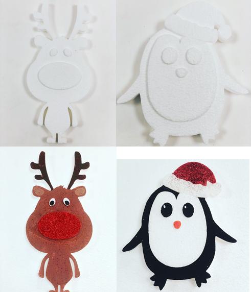 Polystyrene Reindeer and Penguin
